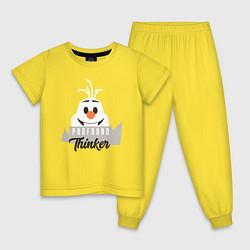 Пижама хлопковая детская Frofound Thinker цвета желтый — фото 1