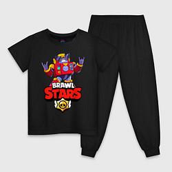 Пижама хлопковая детская Вольт - Brawl Stars цвета черный — фото 1