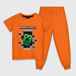 Пижама хлопковая детская Майнкрафт цвета оранжевый — фото 1