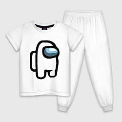 Пижама хлопковая детская AMONG US цвета белый — фото 1