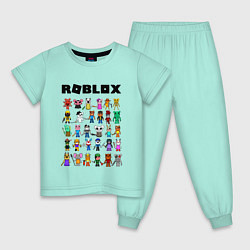 Пижама хлопковая детская ROBLOX PIGGY цвета мятный — фото 1
