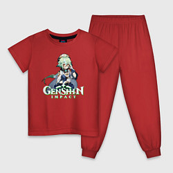 Пижама хлопковая детская Genshin impact Сахароза цвета красный — фото 1