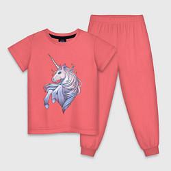 Пижама хлопковая детская Красивый единорог цвета коралловый — фото 1