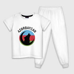 Пижама хлопковая детская Азербайджан цвета белый — фото 1
