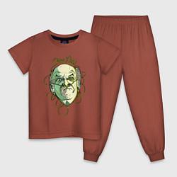Пижама хлопковая детская Гектор Саламанка цвета кирпичный — фото 1