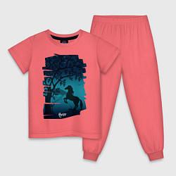 Пижама хлопковая детская Конь цвета коралловый — фото 1