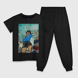 Пижама хлопковая детская Maradona the legend цвета черный — фото 1
