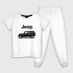 Пижама хлопковая детская Jeep Wrangler цвета белый — фото 1