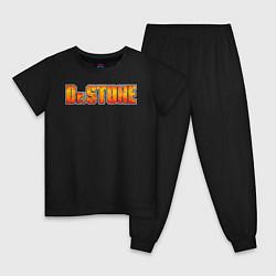 Пижама хлопковая детская Доктор Стоун цвета черный — фото 1