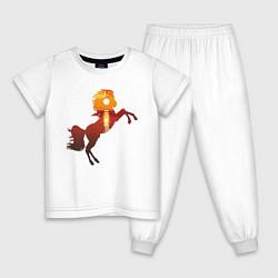 Пижама хлопковая детская Конь-закат цвета белый — фото 1