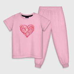 Пижама хлопковая детская Ветвистое Сердце цвета светло-розовый — фото 1