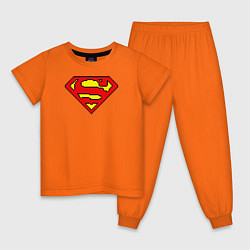 Пижама хлопковая детская Superman 8 bit цвета оранжевый — фото 1