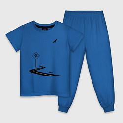 Пижама хлопковая детская Одиночество длинной дистанции цвета синий — фото 1