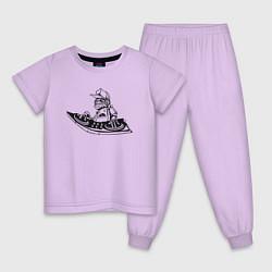 Пижама хлопковая детская ДИСК-ЖОКЕЙ DJ Z цвета лаванда — фото 1