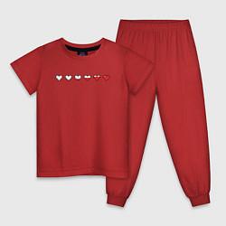 Пижама хлопковая детская СЕРДЕЧКИ ПИКСЕЛИ Z цвета красный — фото 1