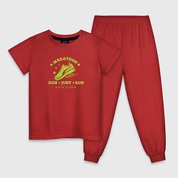 Пижама хлопковая детская Just Run цвета красный — фото 1