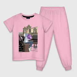 Пижама хлопковая детская БЕЛАЯ НОЧЬ цвета светло-розовый — фото 1
