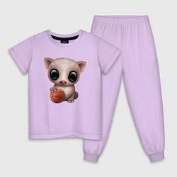Пижама хлопковая детская Свинка - Баскетбол цвета лаванда — фото 1