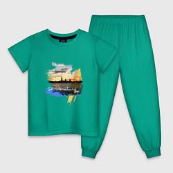 Пижама хлопковая детская Travel Санк-Петербург цвета зеленый — фото 1