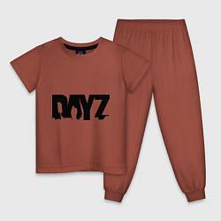 Пижама хлопковая детская DayZ цвета кирпичный — фото 1