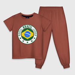 Пижама хлопковая детская Brazil 2014 цвета кирпичный — фото 1