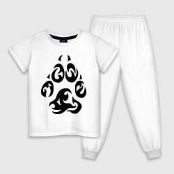 Пижама хлопковая детская Волчий след цвета белый — фото 1