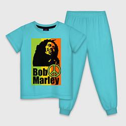 Пижама хлопковая детская Bob Marley: Jamaica цвета бирюзовый — фото 1