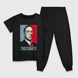 Пижама хлопковая детская Checkmate Spacey цвета черный — фото 1