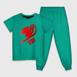 Пижама хлопковая детская Эльза цвета зеленый — фото 1