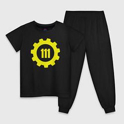 Пижама хлопковая детская Vault 111 цвета черный — фото 1
