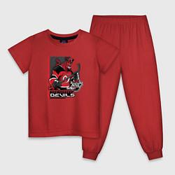 Пижама хлопковая детская New Jersey Devils цвета красный — фото 1