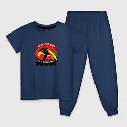 Пижама хлопковая детская Chicago Blackhawks Hockey цвета тёмно-синий — фото 1