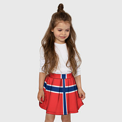 Юбка-солнце для девочки Флаг Норвегии цвета 3D-принт — фото 2