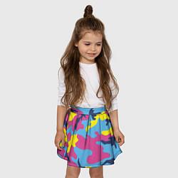 Юбка-солнце для девочки Камуфляж: голубой/розовый/желтый цвета 3D — фото 2