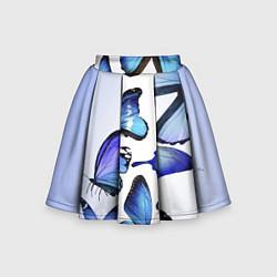 Юбка клеш для девочки с принтом Голубые бабочки, цвет: 3D, артикул: 10083643105607 — фото 1