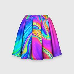 Юбка-солнце для девочки Цветные разводы цвета 3D — фото 1