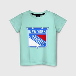 Футболка хлопковая детская New York Rangers цвета мятный — фото 1