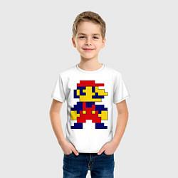 Футболка хлопковая детская Pixel Mario цвета белый — фото 2