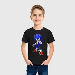 Футболка хлопковая детская ЁЖ Соник цвета черный — фото 2