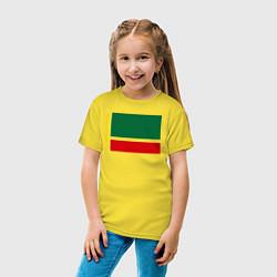 Футболка хлопковая детская Чечня: флаг цвета желтый — фото 2