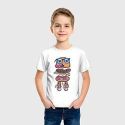 Футболка хлопковая детская Гамбургер цвета белый — фото 2