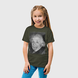 Футболка хлопковая детская Энштейн дурачится цвета меланж-хаки — фото 2