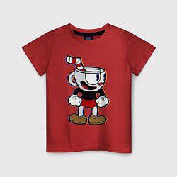Футболка хлопковая детская Cuphead Boy цвета красный — фото 1
