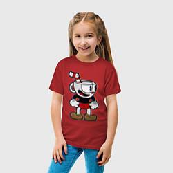 Футболка хлопковая детская Cuphead Boy цвета красный — фото 2