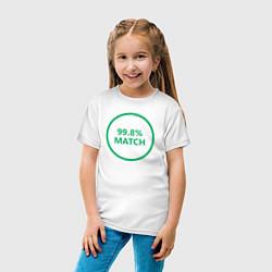 Футболка хлопковая детская 99.8% Match цвета белый — фото 2