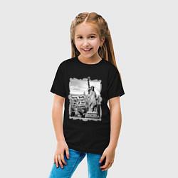 Футболка хлопковая детская New York city of my dreams цвета черный — фото 2