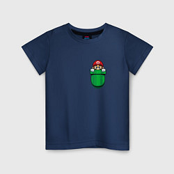 Футболка хлопковая детская Марио в кармане цвета тёмно-синий — фото 1