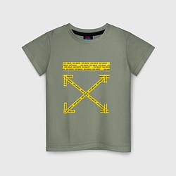 Детская хлопковая футболка с принтом Off-White: Yellow Arrows, цвет: авокадо, артикул: 10159184700014 — фото 1