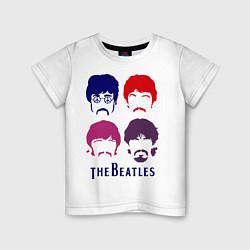 Футболка хлопковая детская The Beatles faces цвета белый — фото 1