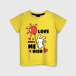 Футболка хлопковая детская Love makes me high цвета желтый — фото 1